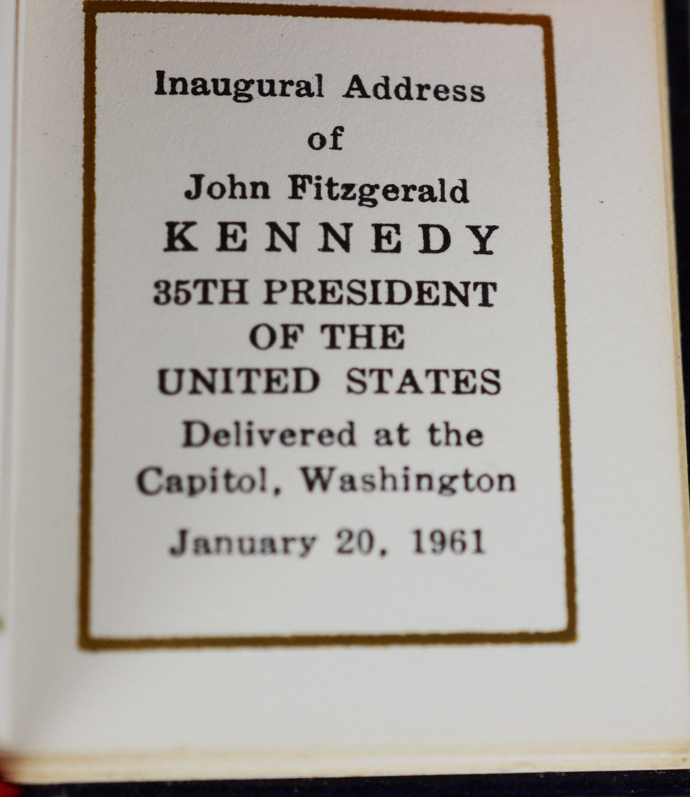 Inaugural Address By Kennedy John F Like New Hardcover
