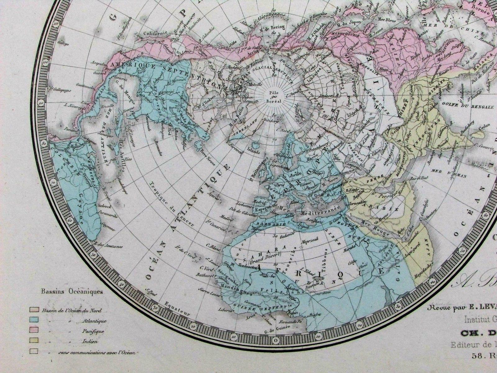 World Map Hemispheres Polar Projection Continents C