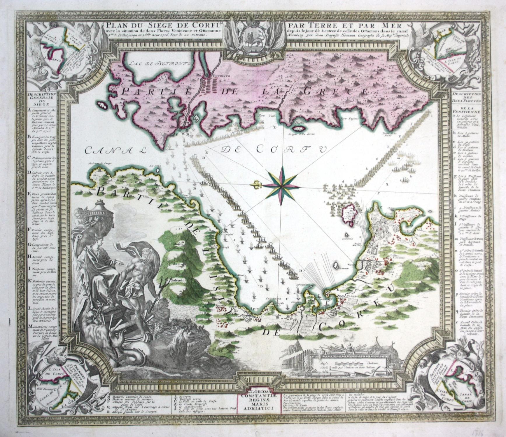 plan du siege de corfu par terre et par mer avec la situation de deux flottes