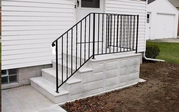 Concrete Steps And Railing By Hampton Concrete Products Inc In   Handrails For Concrete Steps   Deck Stair   Ada   Wood   7 Hand   Concrete Entrance