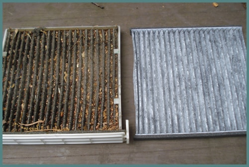 Dirty cabin air filter on left and clean cabin air filter on right