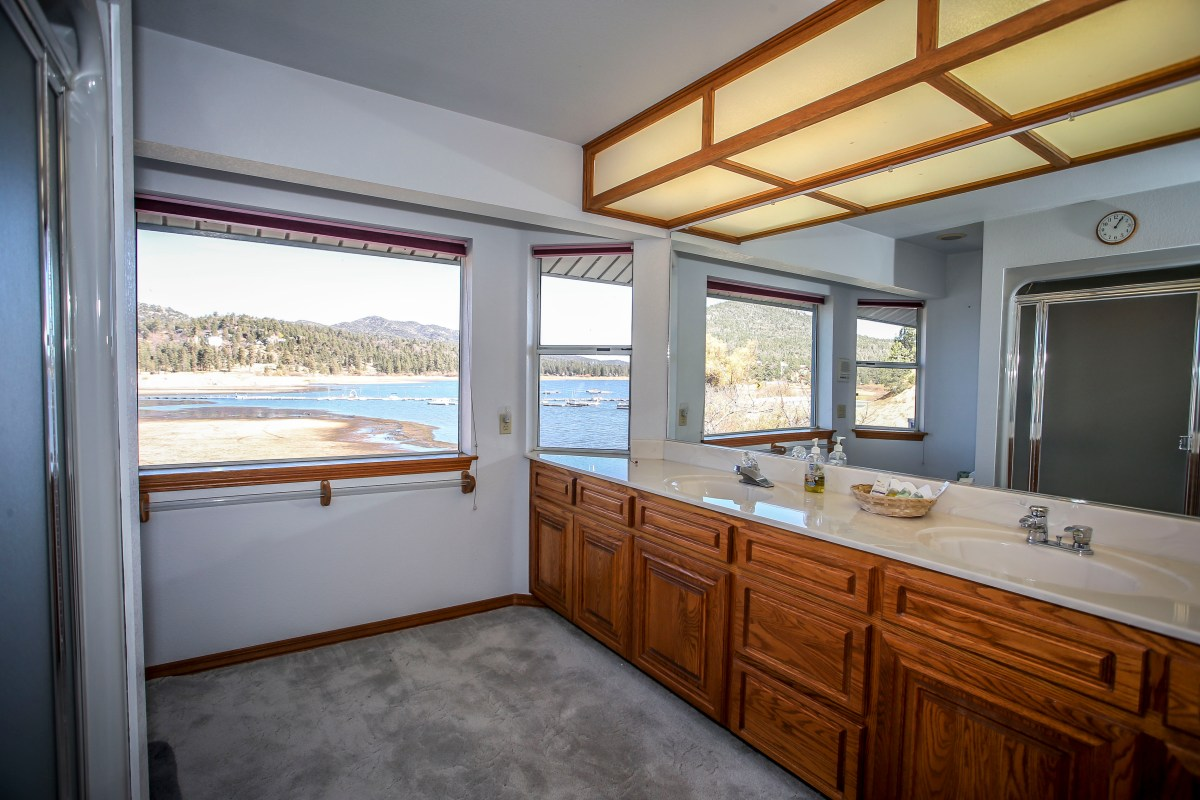 Modern Master Bathroom with views of Big Bear Lake.