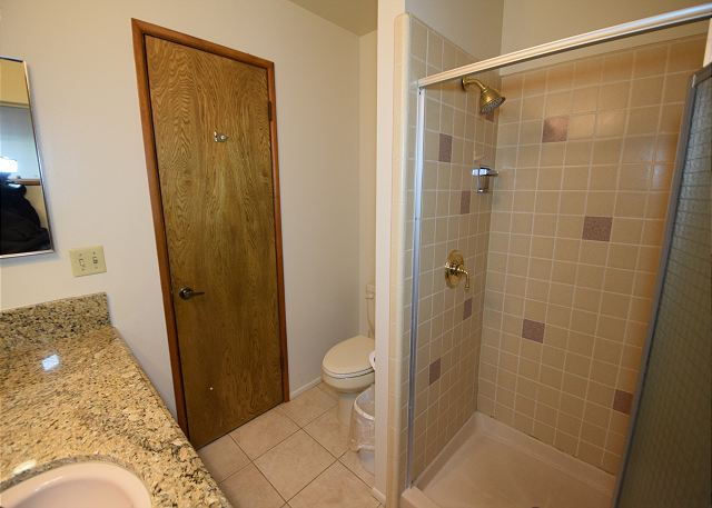 This bathroom includes a nice shower and beautiful granite counter-tops.