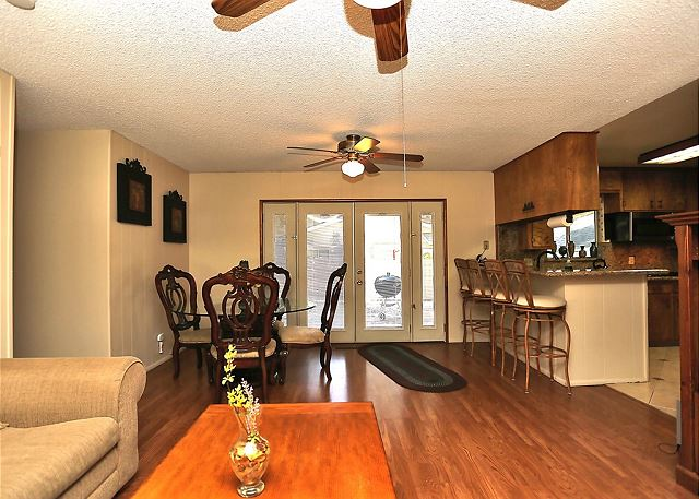 Spacious Living Room, Dining Area and Kitchen.