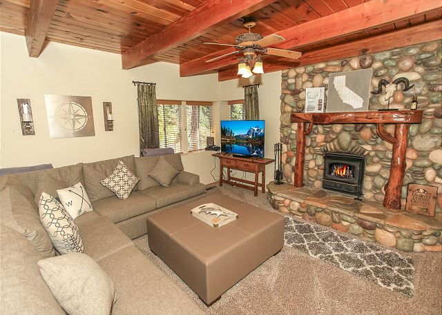 Living Room with Fireplace & TV