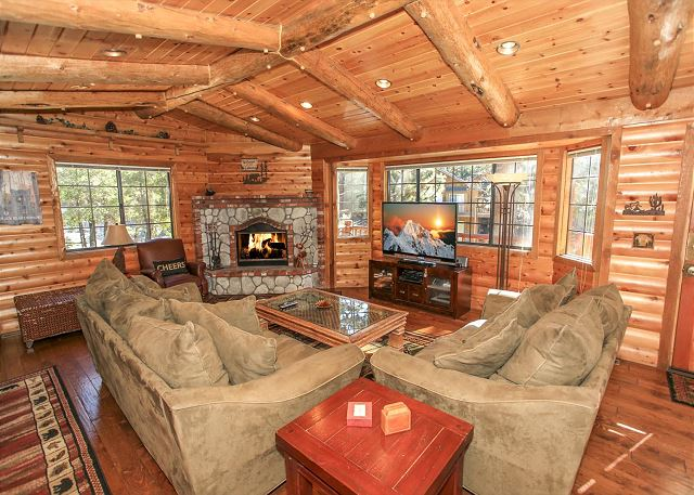 Living room with entertainment center, cable access and fireplace.