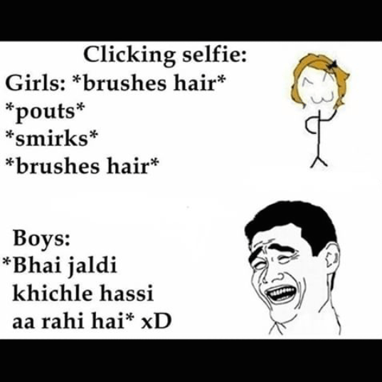 Selfie difference - girls vs boys