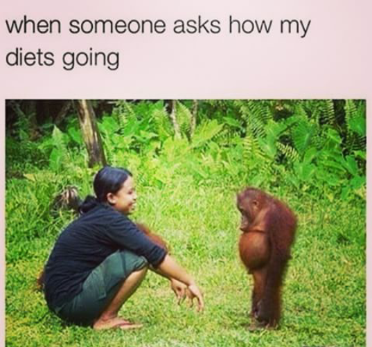 Your reaction when somebody asks you about your diet