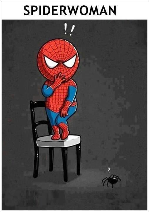 The reaction of spider woman after seeing a spider