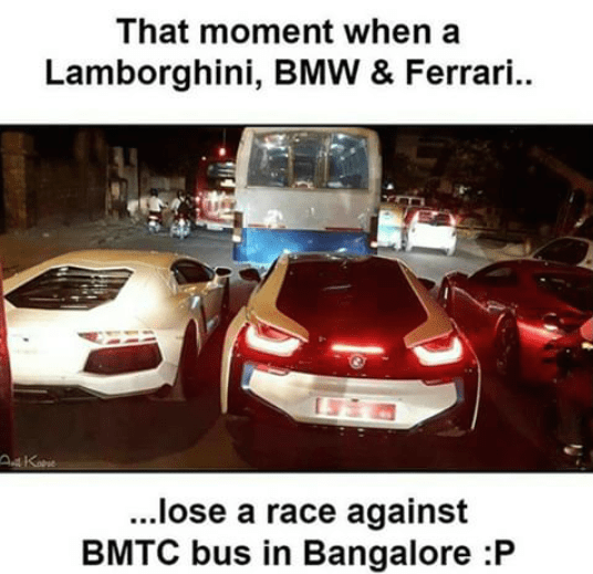That moment when a lamborghini, BMW & Ferrari lost a race to