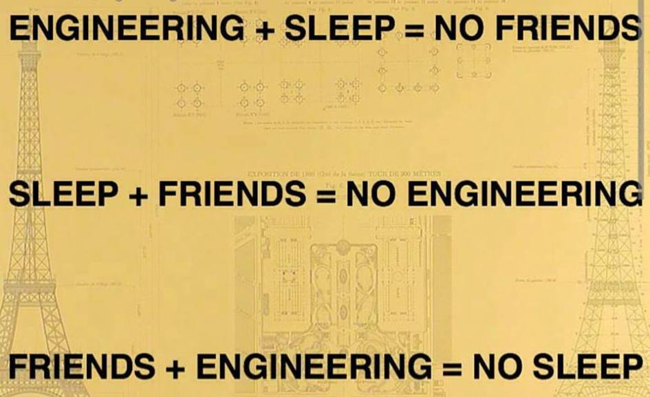 A perfect combination of friends, sleep and Engineering
