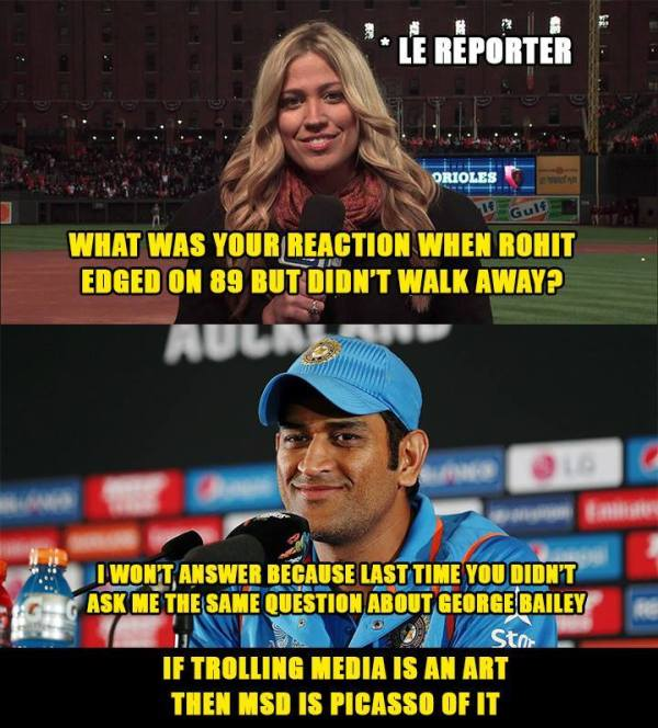 MSD trolled media on Rohit Sharma and Geore Bailey