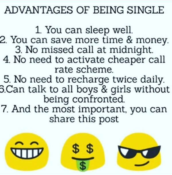 Advatnages of being single - mind blowing image