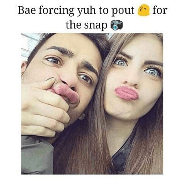 When bae force you to pout - bae funny image