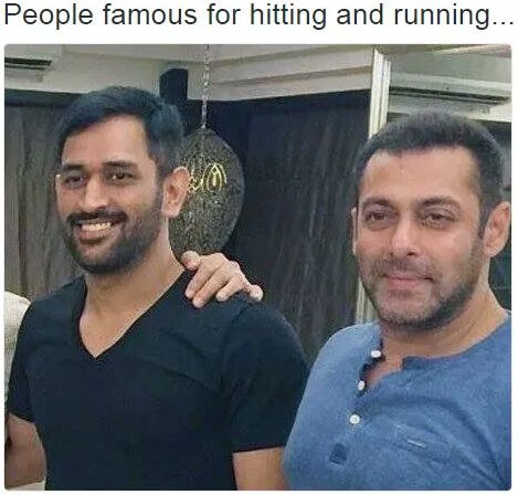 M S Dhoni and Salman Khan hitting and running - celebrity image