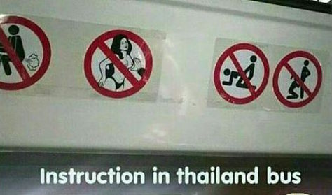 Pictorial instructions in a Thailand bus