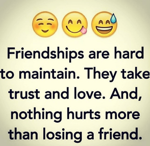 Friendships are hard to earn and maintain