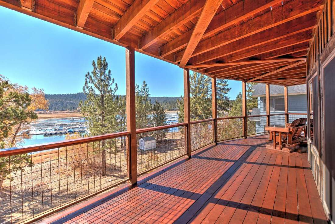 Outside deck with views to the lake