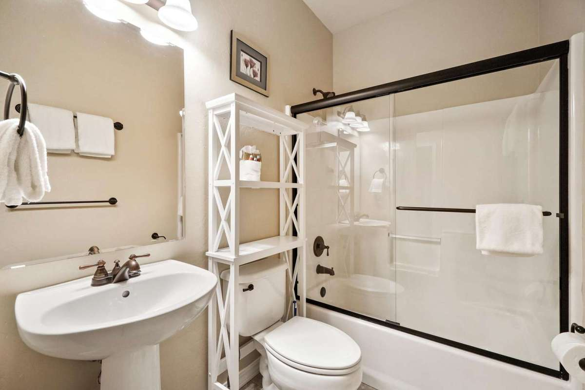Guest Bathroom is fully stocked with extra towels, blow dryer and complimentary soap