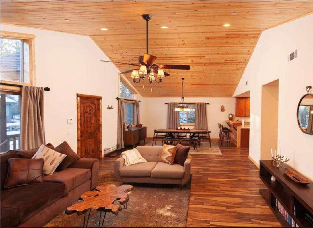 Vaulted ceiling and open floor plan