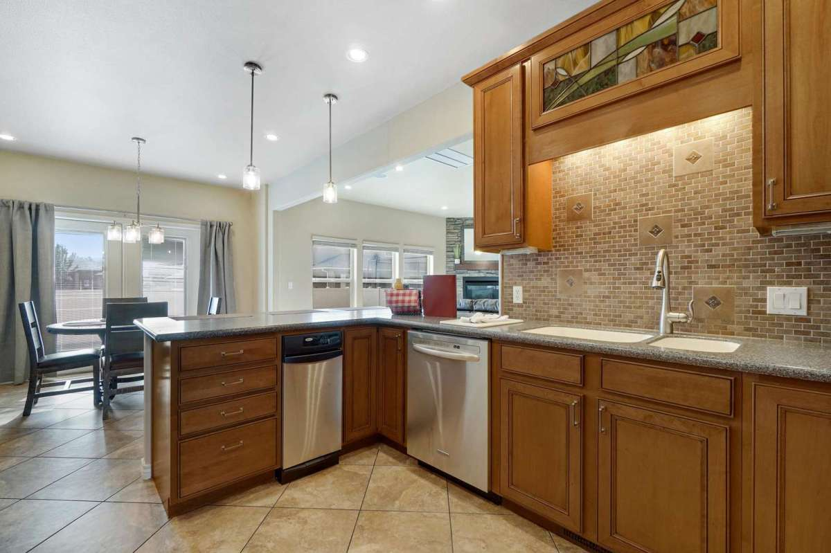 Kitchen has great open space to additional dining area