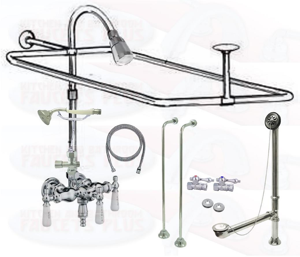 Details About Chrome Clawfoot Tub Faucet Add A Shower Kit W Drain Supplies Stops 11509