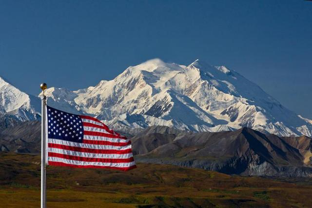 Denali With Flag