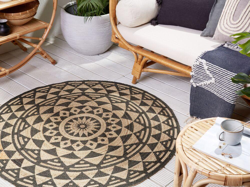 teppich alakir schwarz jute 120 cm rund ch