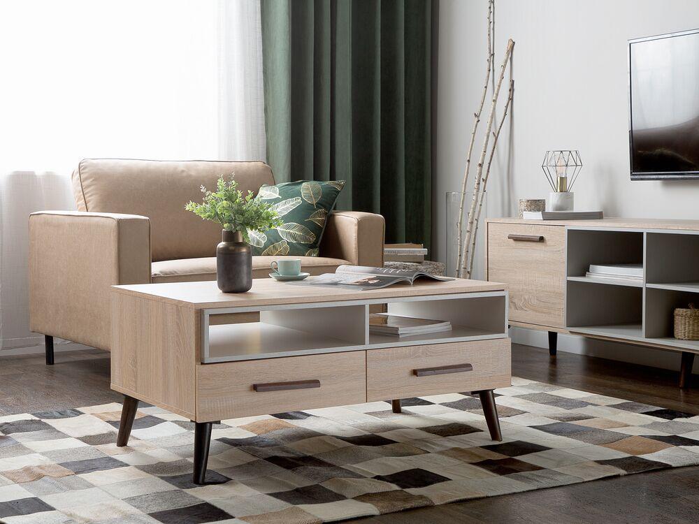 table basse bois clair et gris susa
