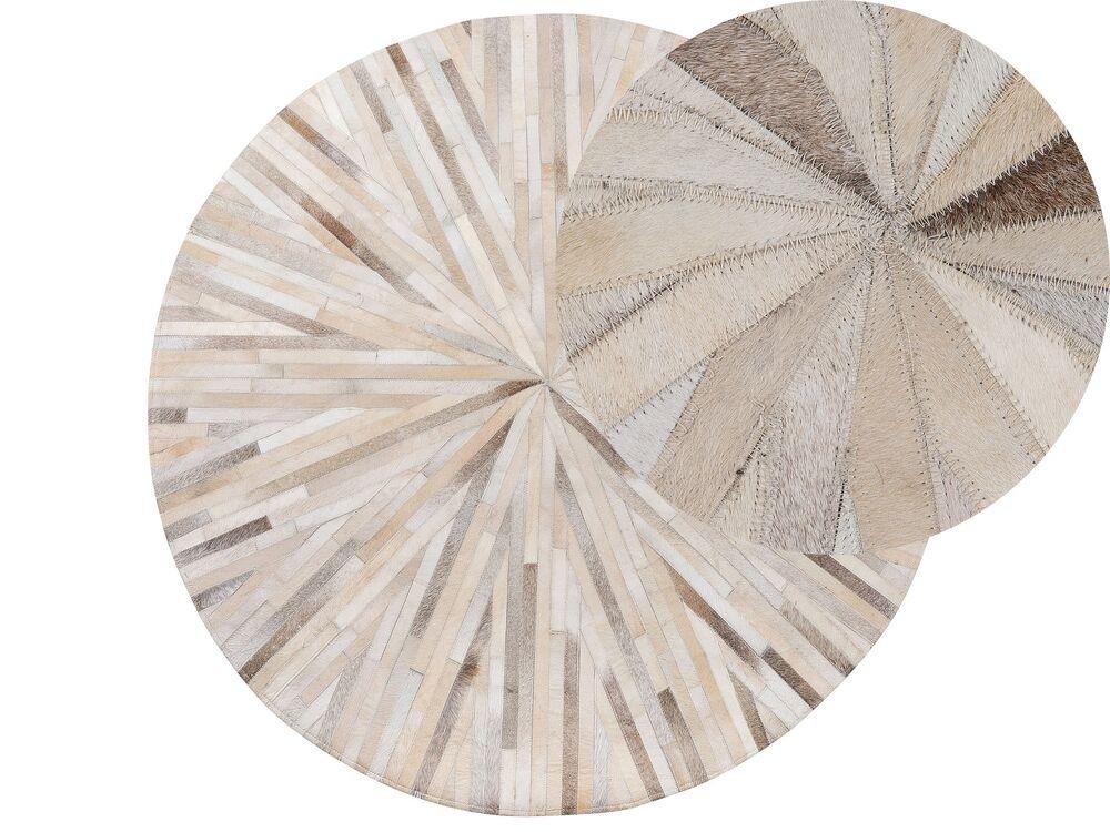 tapis rond en cuir beige yerkani
