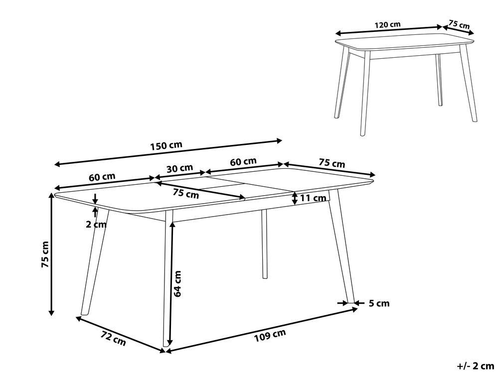 table de cuisine extensible 120