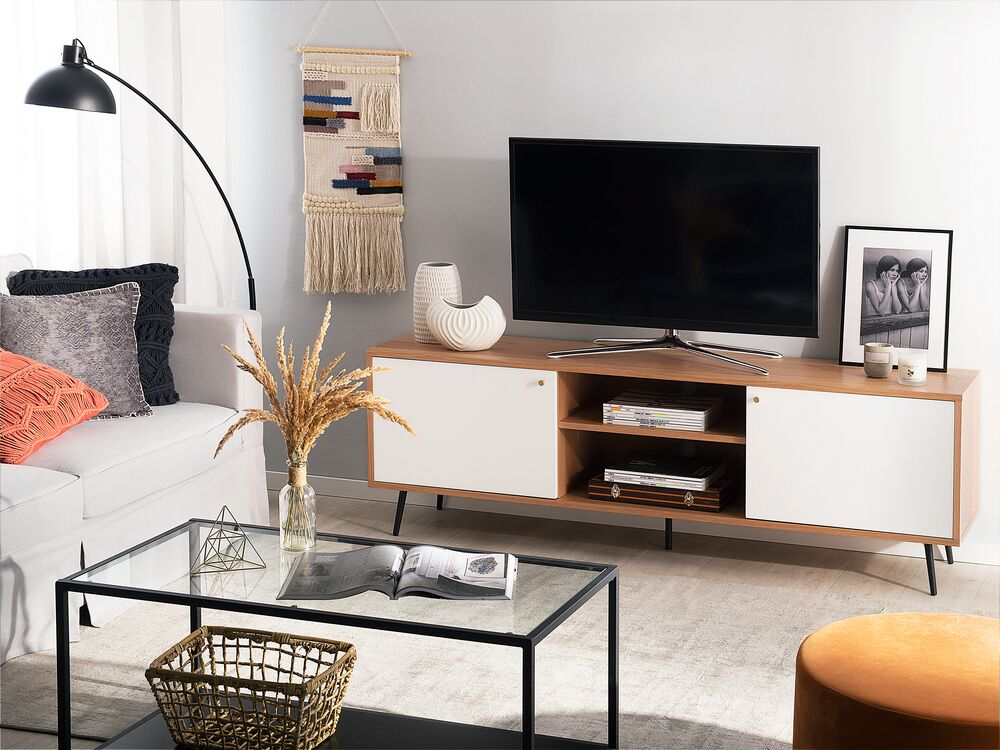 tv mobel portland weiss heller holzfarbton ch