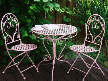 set of 2 metal garden chairs pink