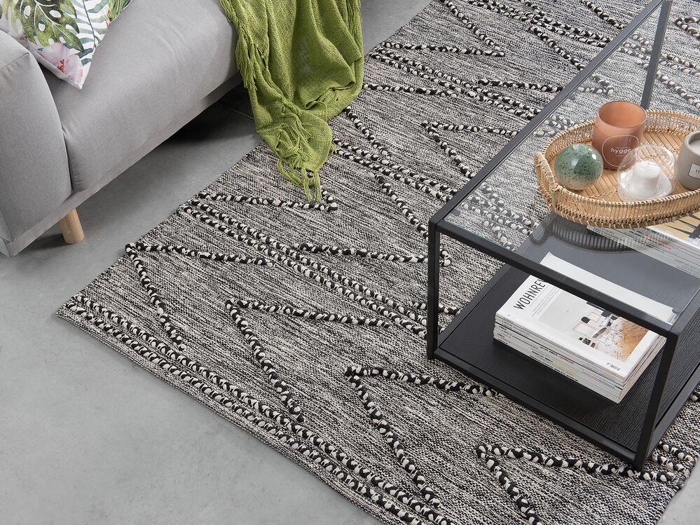 teppich termal schwarz weiss 140x200 cm ch