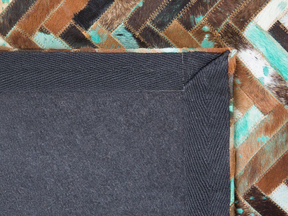 tapis rectangulaire en cuir brun