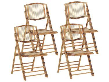 lot de 4 chaises pliantes en bambou marron trentor