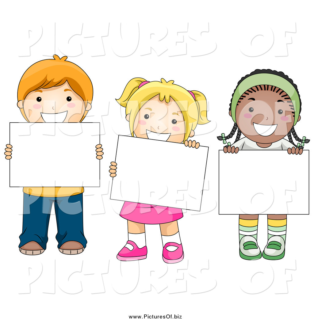 Vector Clipart Of Diverse School Children Holding Blank