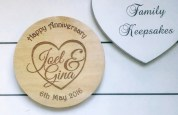 Names in heart personalised anniversary coaster2