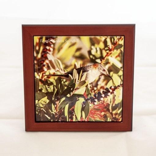 ceramic tile framed onto a wooden frame