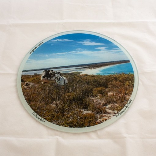 glass chopping board with picture of the lookout Culham inlet in Hopetoun