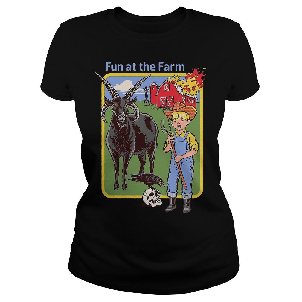 Children's Book Cover Parodies fun at the farm demon Ladies tee