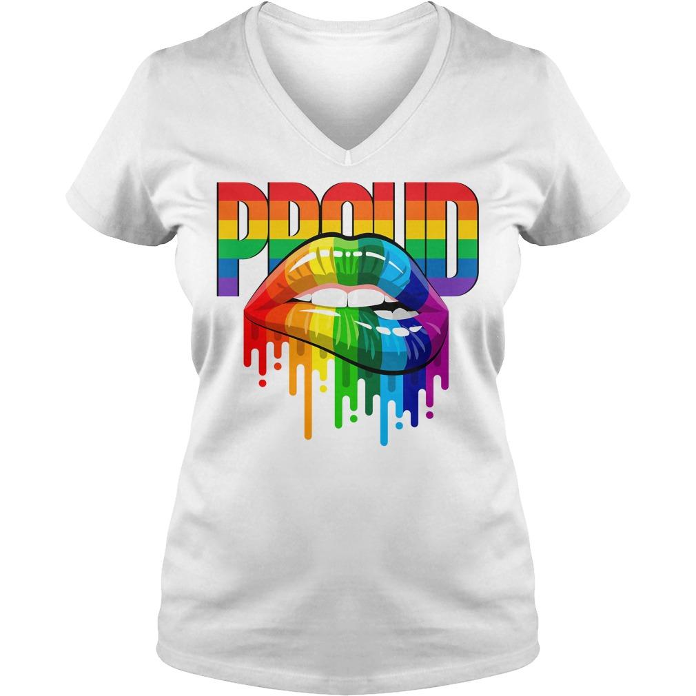 Dripping lips Pride parade Lgbt rainbow pride V-neck t-shirt