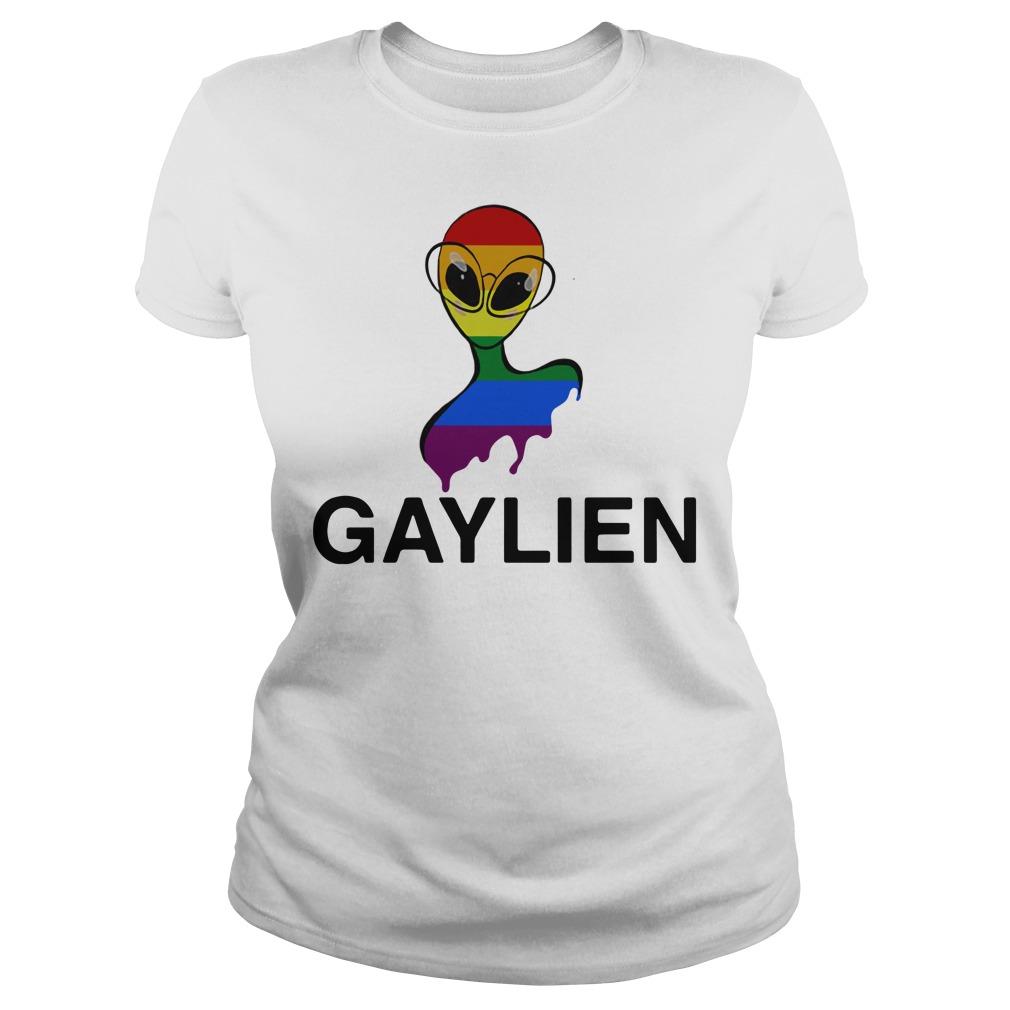 Gaylien LGBT rainbow pride parade Ladies tee