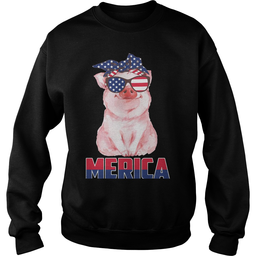 Merica Patriot pig 4th of July American Sweater
