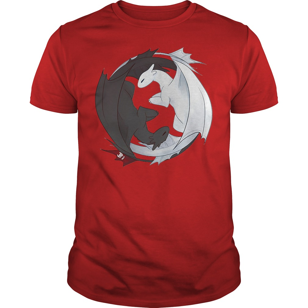 Official Toothless Night Fury and Light Fury Yin Yang Guys tee