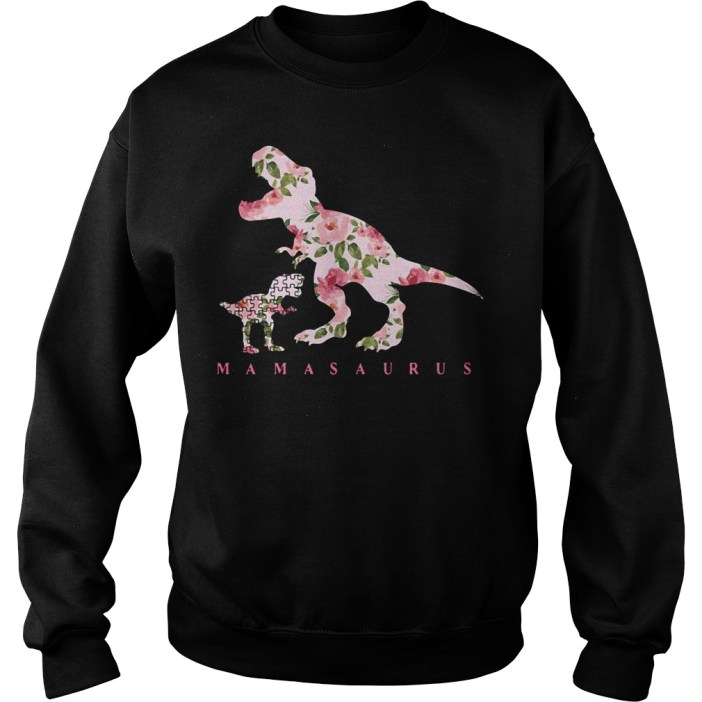 Autism Mamasaurus floral Sweater