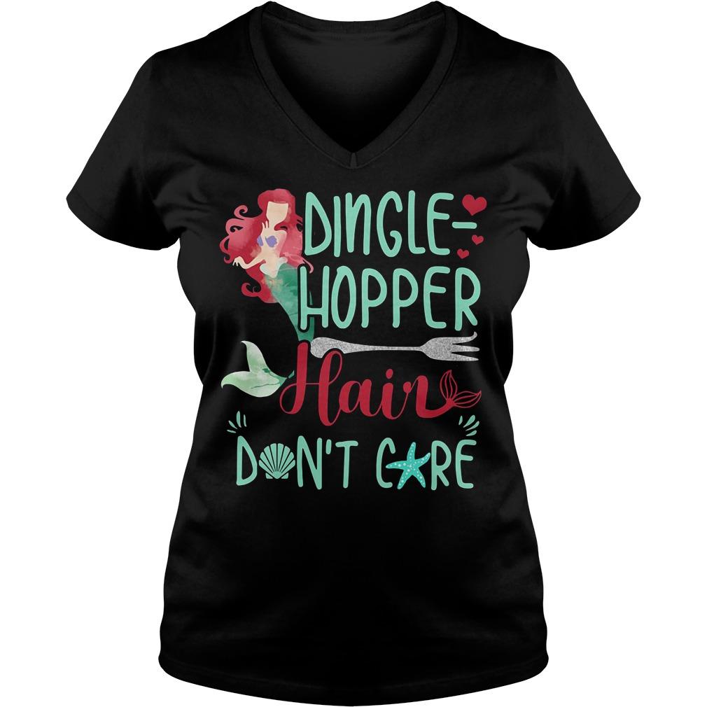 Mermaid Dinglehopper Hair Don't Care Disney V-neck