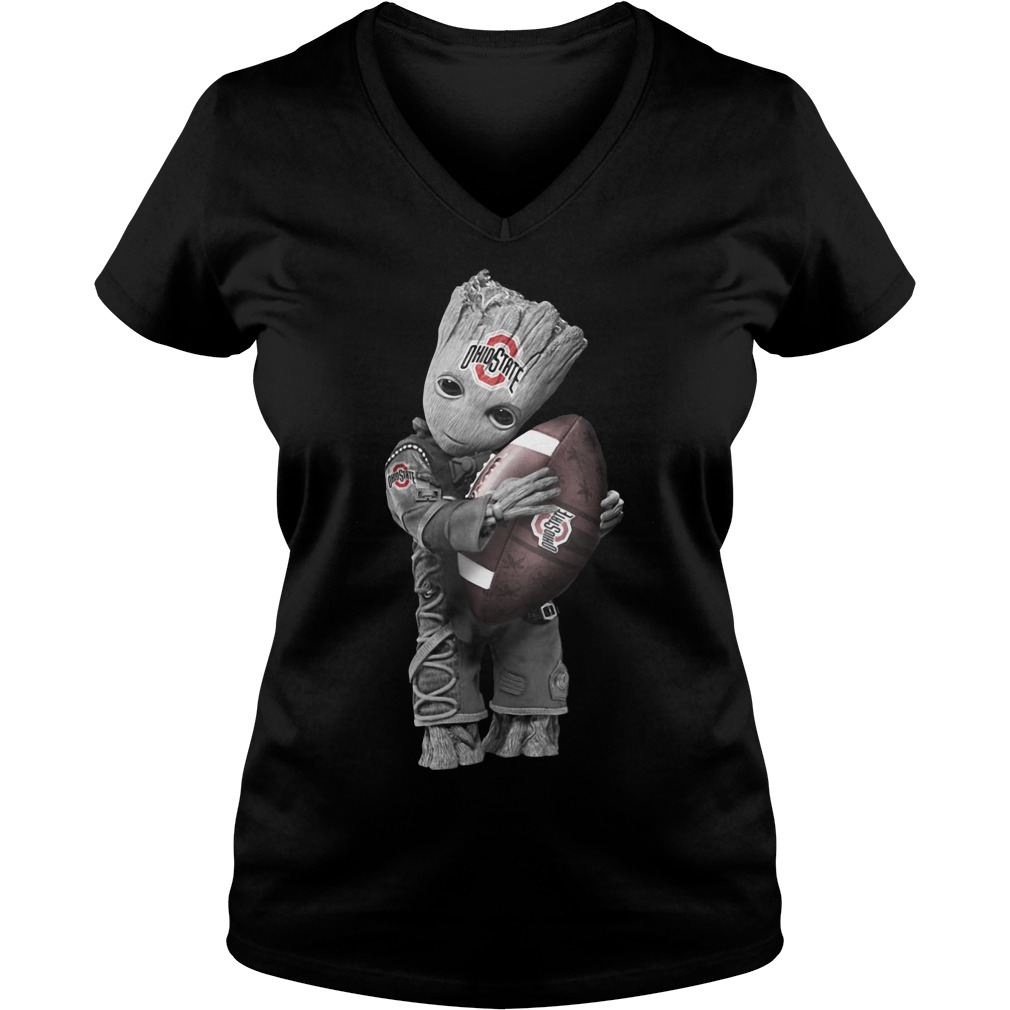 Official Baby Groot Hug Ohio State Buckeyes V-neck t-shirt