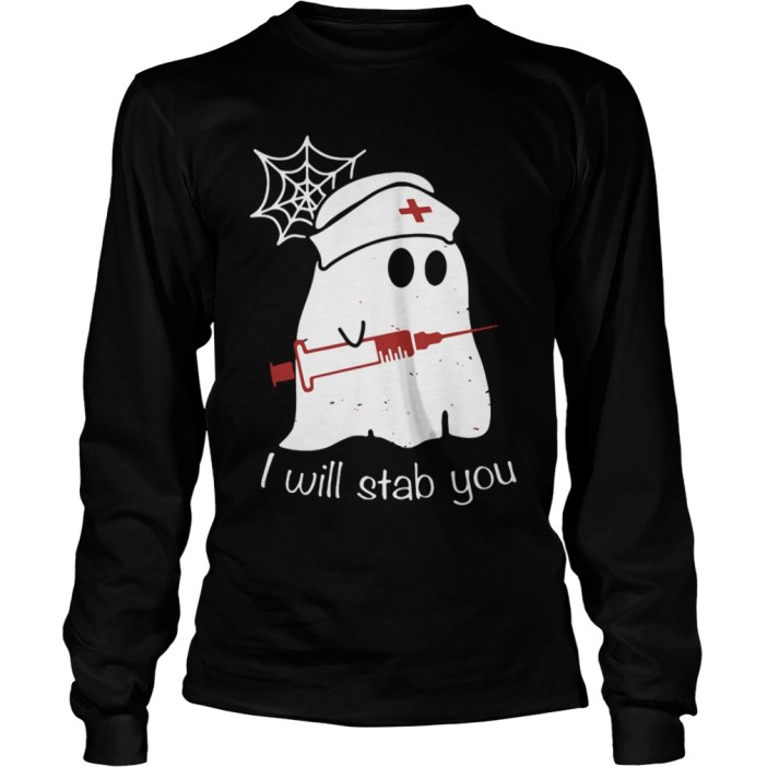 Nurse Ghost I Will Stab You Long sleeve tee