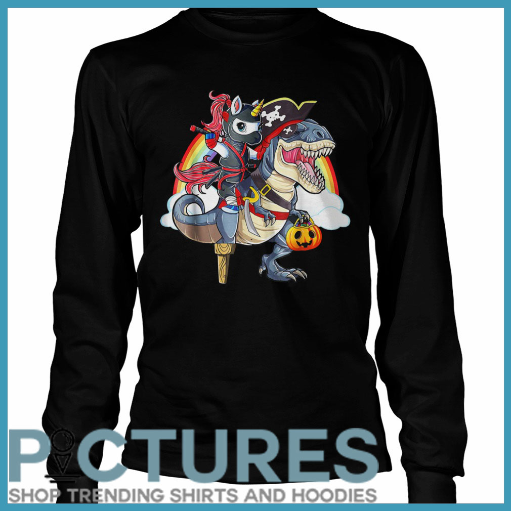 Ninja Unicorn Riding Dinosaur Halloween Long sleeve
